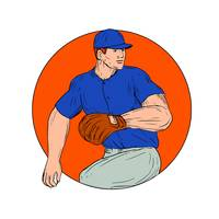 Baseball Pitcher Ready To Throw Ball Circle Drawin
