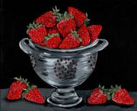 COLANDER STRAWBERRIES KITCHEN FOODIE ART