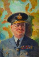Abstract Portrait of Winston Churchill in RAF unif