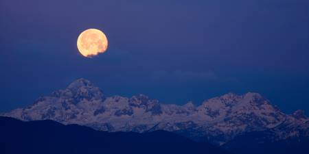 Moonset over the Julian Alps