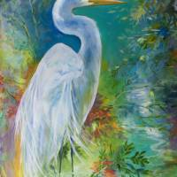 WHITE EGRET LANDSCAPE WATERS by Marcia Baldwin