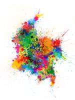 Colombia Paint Splashes Map