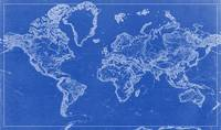 BluePrint Drawing of World Map