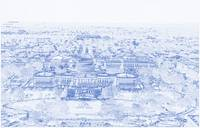 Blueprint Drawing of Aerial view of Capitol Hill f