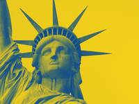 statue of liberty in yellow