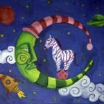 Zebra On Moon Prints & Posters