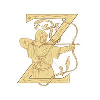 Medieval Archar Aiming Bow and Arrow Letter Z Draw