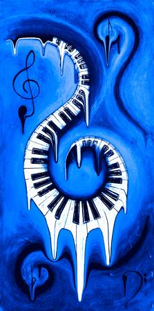 Hot Blue - Swirling Piano Keys - Music In Motion