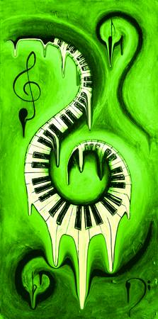 Hot Green - Swirling Piano Keys - Music In Motion