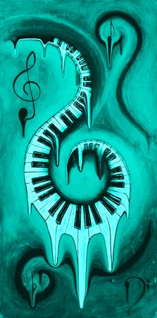 Hot Teal - Swirling Piano Keys - Music In Motion