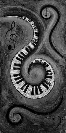Black 3 - Swirling Piano Keys - Music In Motion