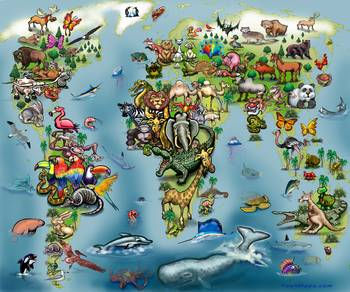 Animals world map poster by kevin middleton gumiabroncs Image collections