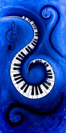 Blue - Swirling Piano Keys - Music In Motion
