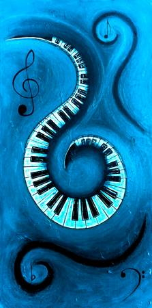 Blue 1 - Swirling Piano Keys - Music In Motion