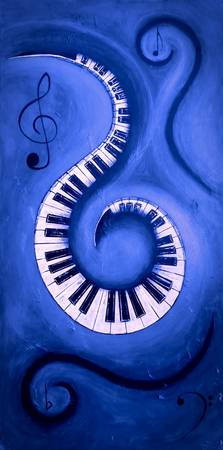 Blue 2 - Swirling Piano Keys - Music In Motion