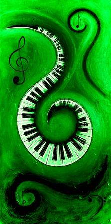 Green - Swirling Piano Keys - Music In Motion
