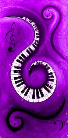 Purple - Swirling Piano Keys - Music In Motion