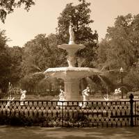 Forsyth Park Fountain Square in Sepia by Carol Groenen
