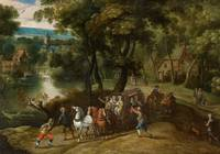 Flemish School, 17th century, Wooded Landscape wit