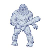 Bigfoot Holding Club Standing Drawing