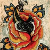 Peacock Orange Rose remix Art Prints & Posters by Aarron Laidig