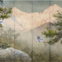 pine rock panel with birds by r christopher vest