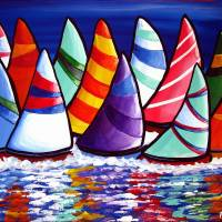 """Flock of Sailboats"" by reniebritenbucher"