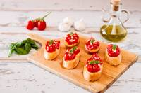 Italian bruschetta with tomato, basil and garlic