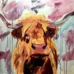 """Highland Cow running acrylic"" by BrettHudsonArt"