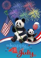 PATRIOTIC PANDA BEARS ON  RIBBON