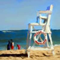 Lifeguard Chair in Ocean City Maryland Art Prints & Posters by Tom Sachse
