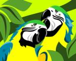 Gold Blue Macaw by Pixel Paint Studio
