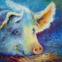 """BABY BLUES PIGGY"" by MBaldwinFineArt2006"