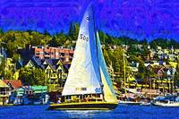 Sailboat On Lake Union by Kirt Tisdale