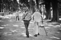 Elderly Men Besties Walking In Parisian Park