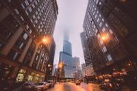 Chicago City Street At Dusk With Mist And Trump To
