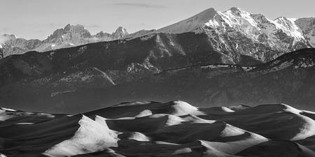 Monochrome Morning Sand Dunes and Peaks