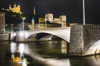 Bonaparte Bridge At Night, Lyon, France