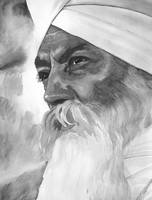 Yogi Bhajan Focused Watercolor - B&W