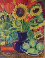 Sunflowers, Tulips and Pears