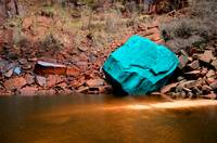 Turquoise Boulder At Upper Emerald Pools