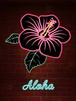 Neon Red Hibiscus Flower TEXT ALOHA