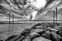 Indian River Inlet Bridge Clouds Black and White