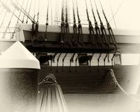 Black and White Vignette of the USS Constellation