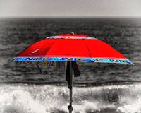 Lonely Red Beach Umbrella