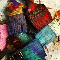 """Color Fantasy of Well Used Paint Brushes"" by ElainePlesser"