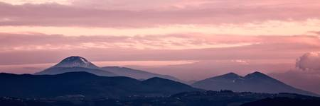 Magenta sunset in the mountain landscape
