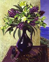 MALIBU HYACINTHS IN DEEP BLUE VASE