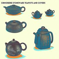 Chinoiserie Stoneware Teapots and Covers 2