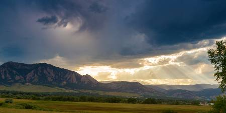 Beams Of Sunlight On Boulder Colorado Foothills